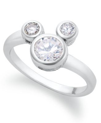 Disney Sterling Silver Ring, Mickey Mouse Cubic Zirconia