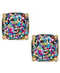 kate spade new york Gold-Tone Glitter Stone Stud Earrings ...