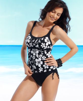 Caribbean Joe Swimsuit, Floral Tankini Top