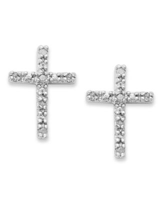 Diamond Cross Stud Earrings in Sterling Silver (1/10 ct. t