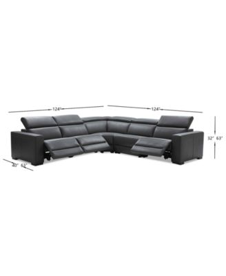 nevio 5 pc leather l shaped sectional sofa with 3 power recliners and articulating headrests created for macy s