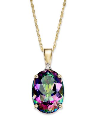 14k Gold Necklace Mystic Topaz 7 13 Ct Tw And