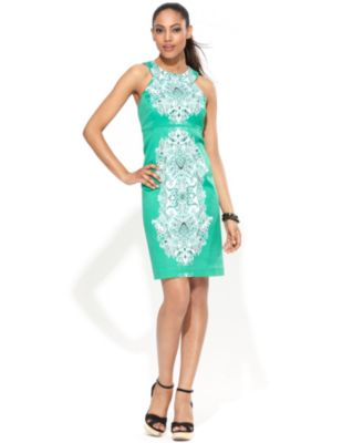 INC International Concepts Dress, Sleeveless Printed Sheath