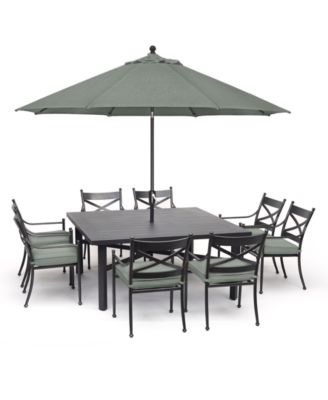 montclaire outdoor aluminum 9 pc dining set 64 x 64 table 8 dining chairs with sunbrella cushions created for macy s