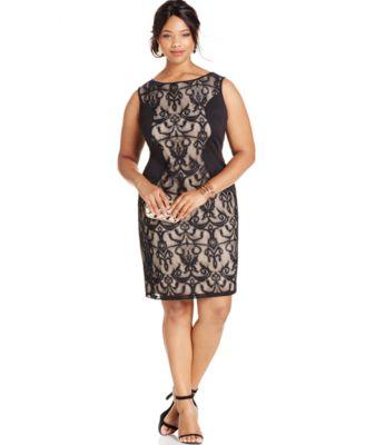 XSCAPE Plus Size Lace Cap Sleeve Dress Dresses Women