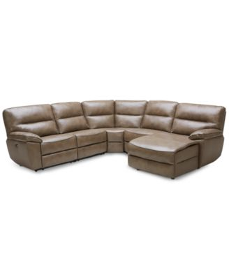 caruso leather 5 piece power motion sectional sofa lounge ii 3 kory 5-pc. with chaise & 1 reclining ...