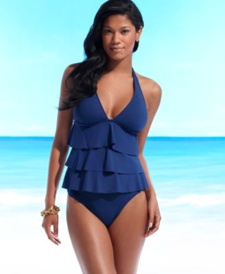 Kenneth Cole Reaction Swimsuit, Tiered Halter Tankini Top