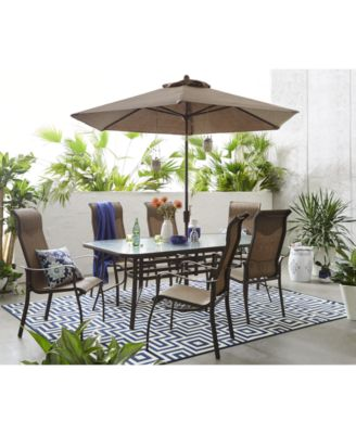 oasis outdoor aluminum 7 pc dining set 84 x 42 dining table and 6 dining chairs created for macy s