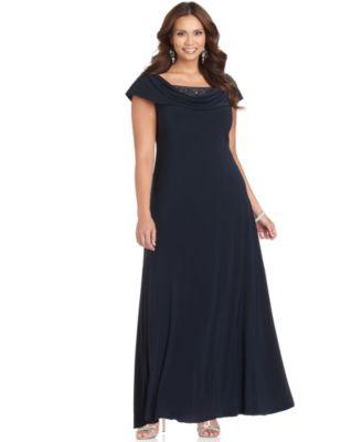 Patra Plus Size Dress Cap Sleeve Beaded Cowl Neck Evening Gown Dresses Women Macys