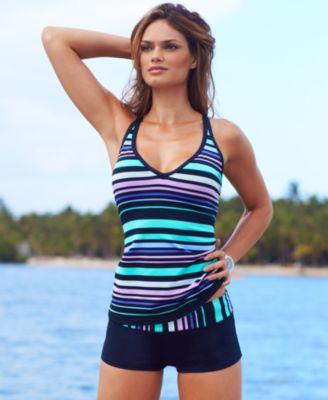 calphalon kitchen essentials home designs jag swimsuit, crisscross striped tankini top & boy ...