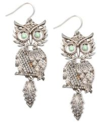 Lucky Brand Earrings, Silver-Tone Shaky Owl - Jewelry ...
