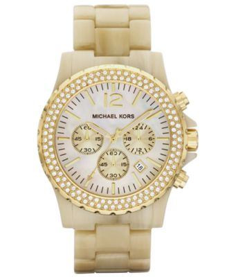Michael Kors Watch, Women's Chronograph Horn Acetate and Stainless Steel Bracelet 45mm MK5558
