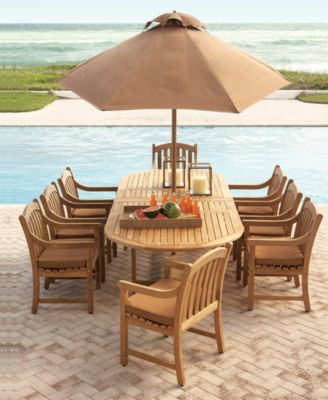 bristol outdoor teak 9 pc dining set 118 x 47 dining table and 8 dining chairs created for macy s