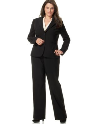 Jones New York Plus Size Suit Jacket, Knit Tee & Flat-Front Pants