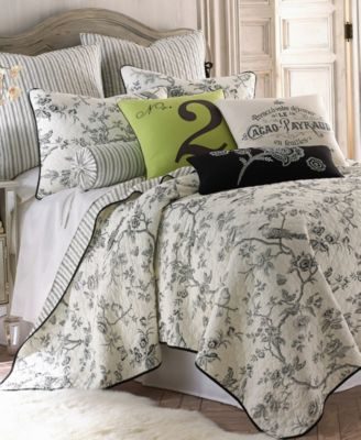 home black toile twin quilt set