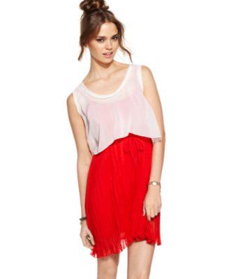 Urban Hearts Dress, Sleeveless Sheer Pleated Crop Top