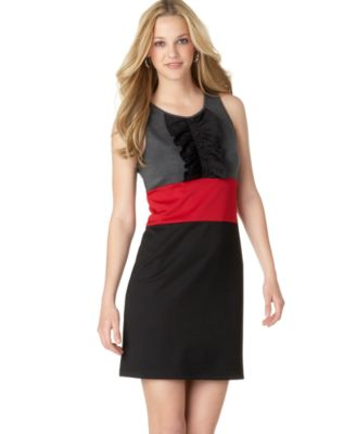 6 Degrees Sleeveless Ruffled Color-Block Dress