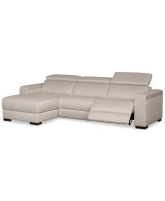 nevio 3 pc fabric sectional sofa with chaise 1 power recliner and articulating headrests created for macy s