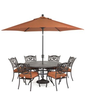 chateau outdoor cast aluminum 7 pc dining set 60 round dining table and 6 dining chairs created for macy s