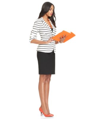 Work Your Wardrobe Striped Jacket & Pencil Skirt Look