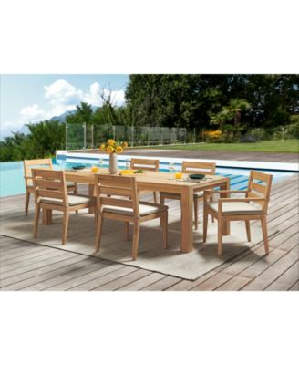 willison teak outdoor 7 pc dining set 96 x 42 rectangle dining table 4 dining chairs 2 dining arm chairs with sunbrella cushions created for