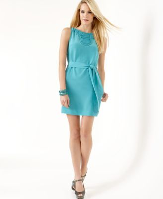 Macys:BCBGMAXAZRIA Belted Sleeveless Sheath Dress with Yoke Orig. $278.00 Now $69.50