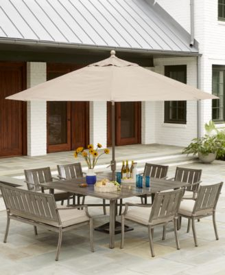 wayland outdoor aluminum 8 pc dining set 64 square dining table 6 dining chairs 1 bench with sunbrella cushions created for macy s