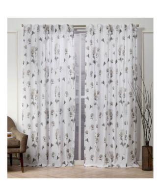 nicole miller la petite fleur floral cotton hidden tab top 50 x 96 curtain panel pair