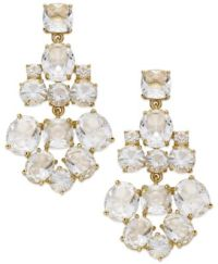 kate spade new york Earrings, Gold-Tone Clear Glass ...