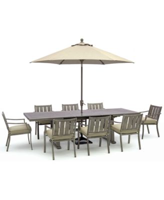 wayland outdoor aluminum 9 pc dining set 87 x 40 extends to 110 extension dining table 8 dining chairs with sunbrella cushions created for