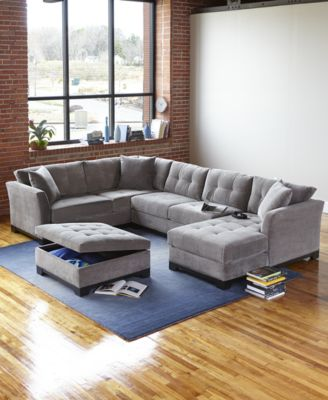 elliot fabric sectional living room furniture collection accent armchairs for ...