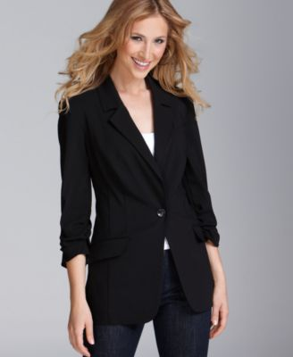Style&co. Blazer, Ruched Three Quarter Sleeve One Button