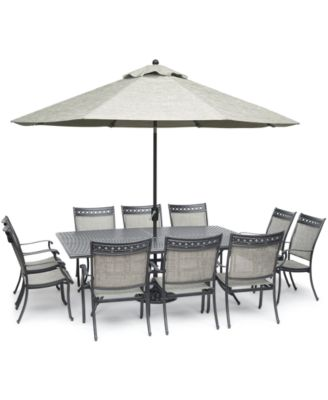 vintage ii outdoor cast aluminum 11 pc dining set 84 x 60 table 10 sling dining chairs created for macy s