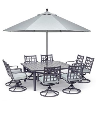 highland aluminum outdoor 9 pc dining set 64 square dining table and 8 swivel rockers with sunbrella cushions created for macy s