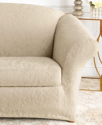 stretch sofa jacquard damask 2 piece sofa slipcover