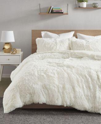 queen shaggy faux fur duvet cover set