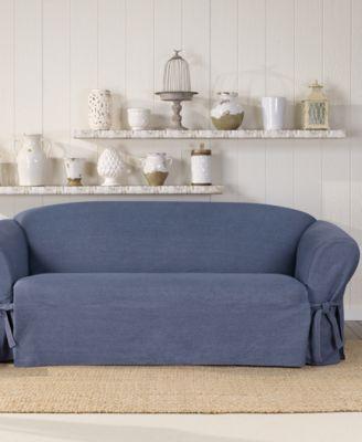 authentic denim one piece t cushion sofa slipcover