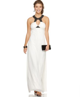 B Darlin Maxi Dress, Sleeveless Beaded Halter Cut Out Empire Long Gown
