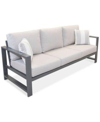 aruba grey aluminum outdoor sofa with sunbrella cushion created for macy s