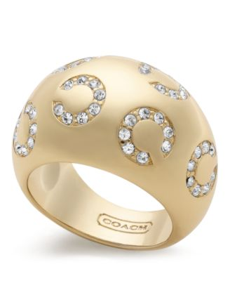 COACH PAVE OP ART DOMED RING