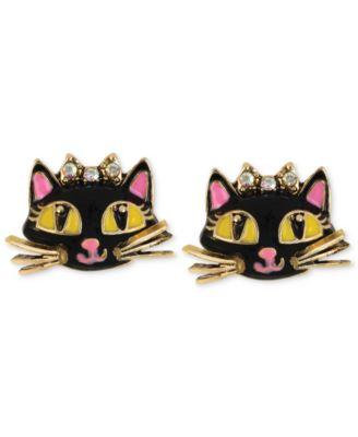Betsey Johnson Antique Gold Tone Cat Stud Earrings