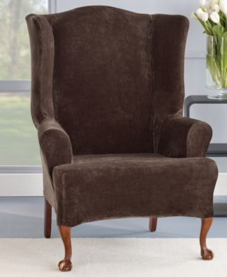 wingback chair cover joovy hook on covers shop for and buy sure fit stretch plush 1 piece wing slipcover