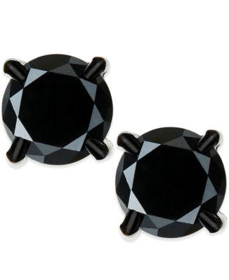 Men's Black Diamond stud Earrings in Stainless Steel (2 ct