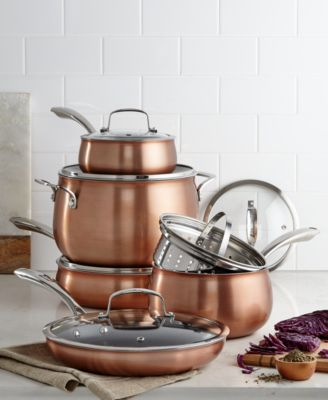 macy's kitchen sets round rugs for belgique copper translucent 11 piece cookware set created main image