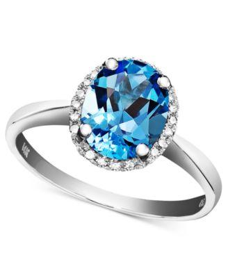 14k White Gold Ring Blue Topaz 2 Ct Tw And Diamond