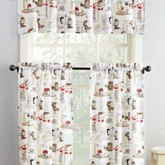 Kitchen Curtain Science Curtains Macy S 918 Brew 3 Pc Graphic Print Microfiber Rod Pocket
