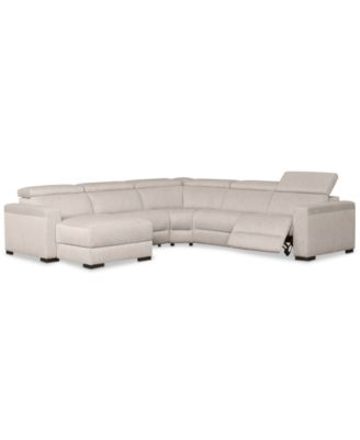 sofa w chaise minimal style furniture nevio 5 pc fabric sectional with 1 power recliner and articulating