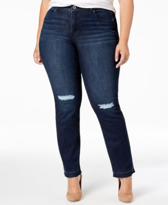plus size distressed straight leg jeans created for macy   also womens inc international concepts clothing rh macys
