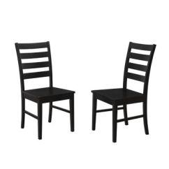 Ladder Back Dining Chairs Indoor Hammock Chair Hanging Kit Walker Edison Wood Set Of 2 Black Home 540 00