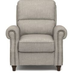 Push Back Chair Black Leather Office Furniture Prolounger Recliner In Dove Gray Linen Main Image